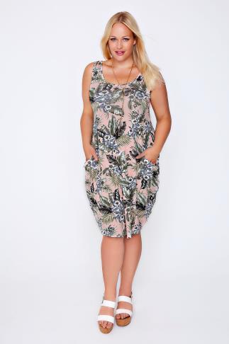 Peach & Green Tropical Floral Print Drape Pocket Sleeveless Jersey Dress