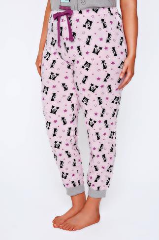 Pink & Black Cat Print Pyjama Bottoms