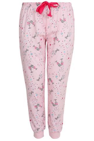 Pink Champagne Print Pyjama Bottoms