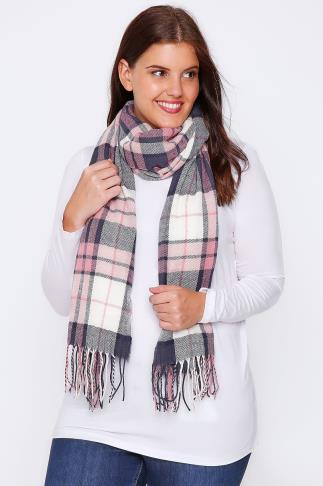 Pink, Cream & Navy Oversized Check Scarf