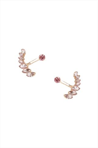Pink Diamanté 2 In 1 Stud & Drop Earrings