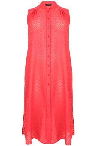 Pink Diamond Textured Maxi Length Button Down Sleeveless Shirt