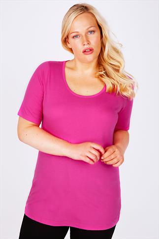 Pink Scoop Neck Cotton T-Shirt