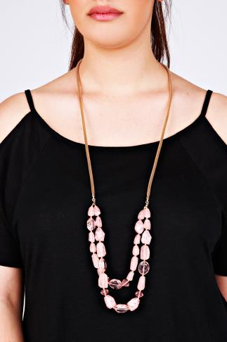 Pink Stone & Bead Double Layered Necklace With Gold Chain