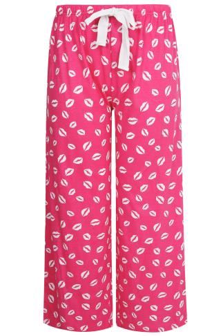 Pink & White Lip Print Pyjama Bottoms