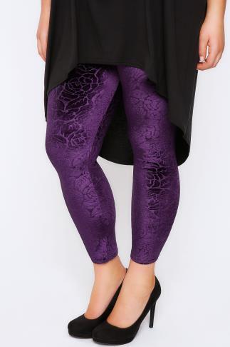 Purple Floral Embossed Velour Leggings
