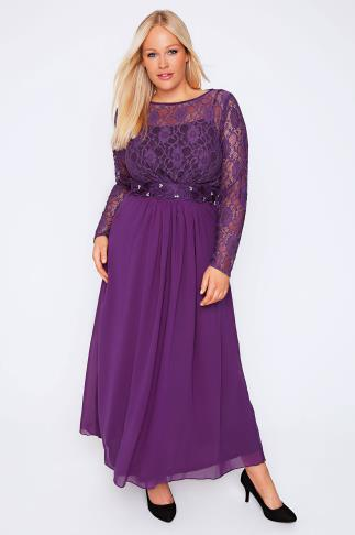 Purple Lace Maxi Dress With Embellished Waist