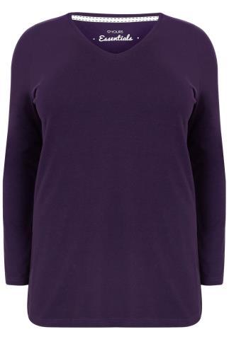 Purple Long Sleeve V-Neck Plain T-shirt