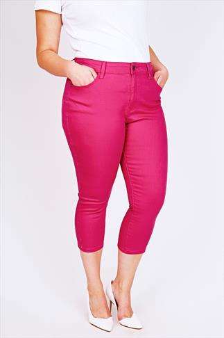 Raspberry Pink Denim Crop Jean