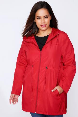 Red Shower Resistant Pocket Parka Jacket With Hood