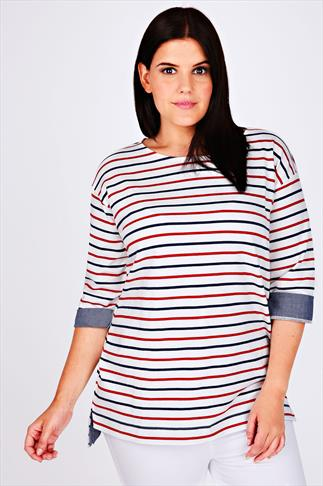 Red, White & Navy Striped Top With Chambray Trim