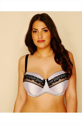 Lilac Satin & Black Lace Moulded Balconette Bra