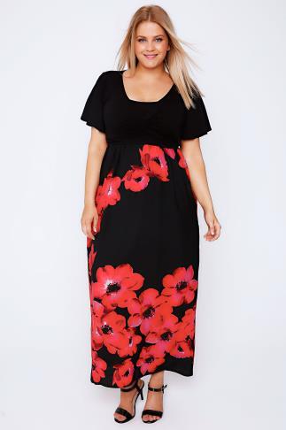 SCARLETT & JO Black & Red Poppy Print Wrap Front Maxi Dress