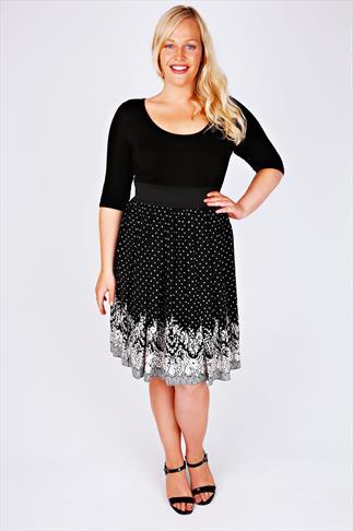 SCARLETT & JO Black & White Floral Boarder Print 2 in 1 Dress