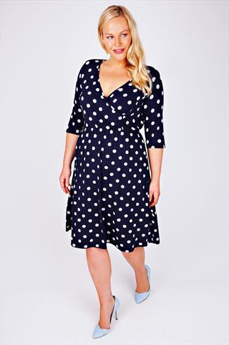 SCARLETT & JO Navy Polka Dot Wrap Front Dress