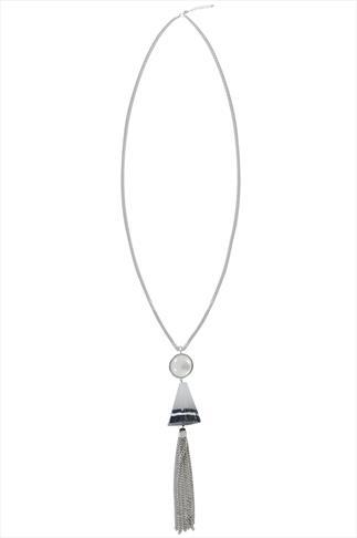 Silver Natural Stone Tassel Pendant