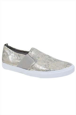 Silver Snake Print Slip On Plimsolls In EEE Fit