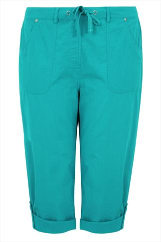 Turquoise Cool Cotton Roll-Up Crop Trousers With Stud Detail