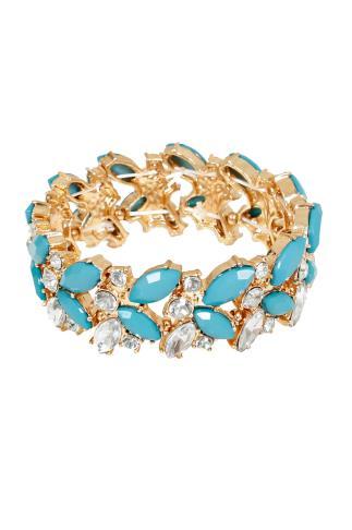 Turquoise & Gold Diamanté Stretch Bracelet