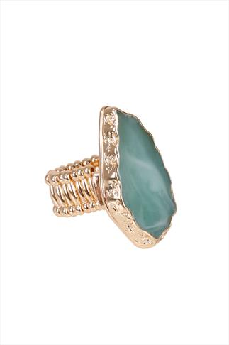 Turquoise Natural Stone Gold Stretch Ring