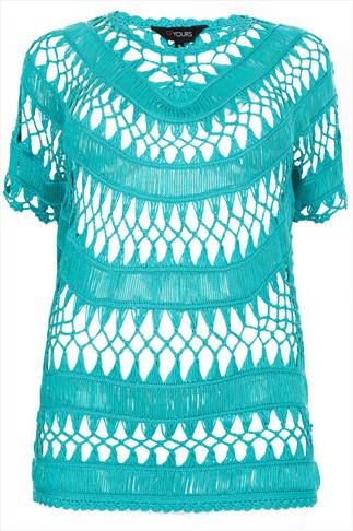Turquoise Open Crochet Knit Top