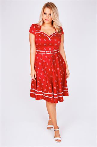 VOODOO VIXEN Red & White Sailor Print 50's Style Dress