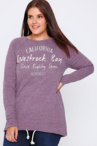 Westrock Bay Purple Marl 'California Authentic' Sweat Top