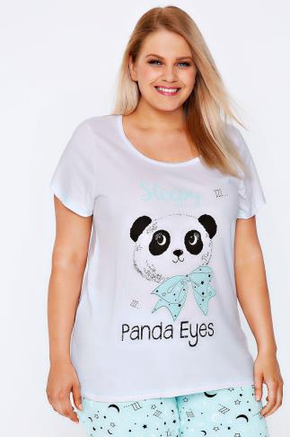 White, Black & Mint Green 'Panda Eye' Cotton Pyjama Top