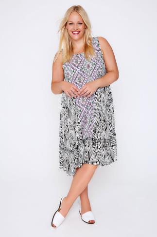 White, Black & Multi Aztec Print Sleeveless Sun Dress