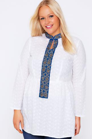 White & Blue Floral Embroidered Smock Blouse