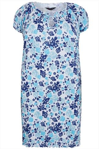 White & Blue Rose Print Gypsy Style Night Dress