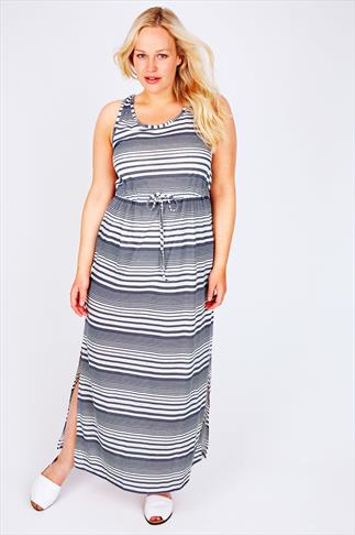 White & Blue Washed Stripe Drawstring Maxi Dress