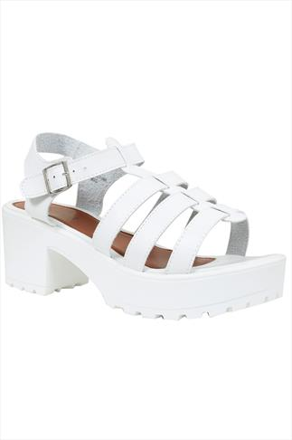 White Cleated Platform Gladiator Sandals In Wide Fit