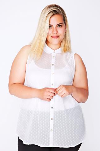 White Dot Detail Sleeveless Chiffon Shirt
