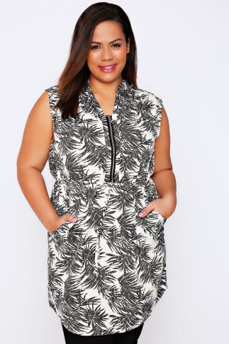 White & Khaki Palm Print Longline Top With Tie Waist & Zip Front