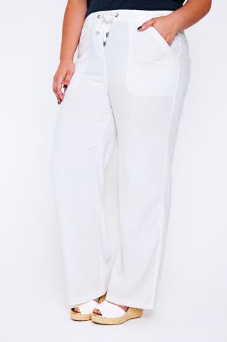 """White Linen Mix Full Length Trousers With Four Pockets 28"""""""