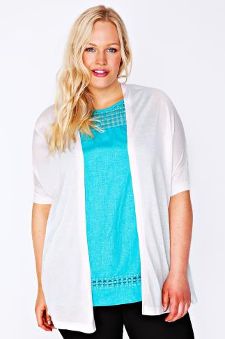 White Longline Cardigan With Batwing Sleeves