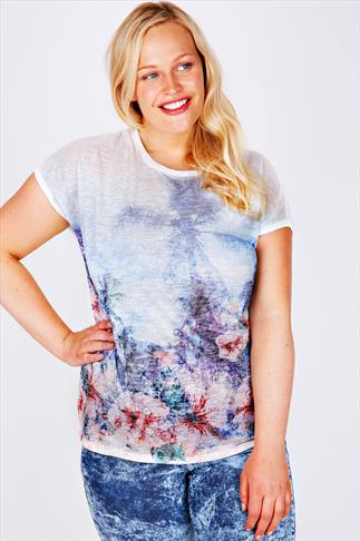 White & Multi Tropical Print Burn Out Jersey Top