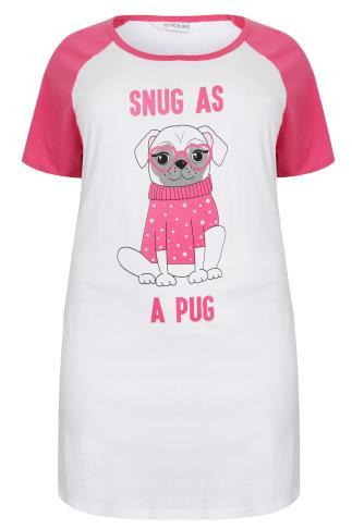 White & Pink 'Snug As A Pug' Print Night Dress