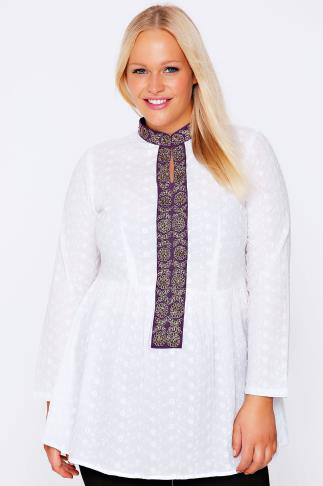 White & Purple Floral Embroidered Smock Blouse