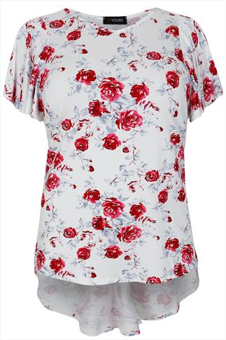 White & Red Rose Print Top With Godet Back