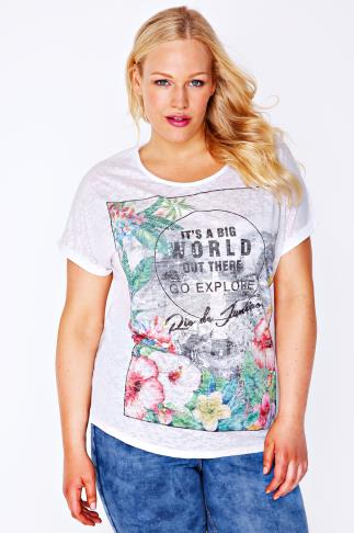 White 'Rio de Janeiro' Floral Print & Burnout T-Shirt
