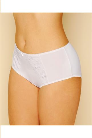 White Embroidered Breifs With Lace Detail