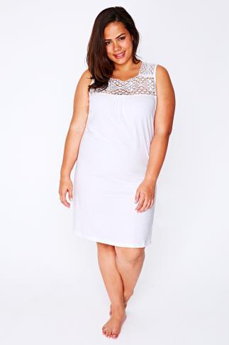 White Sleeveless Nightdress with Crochet Detail