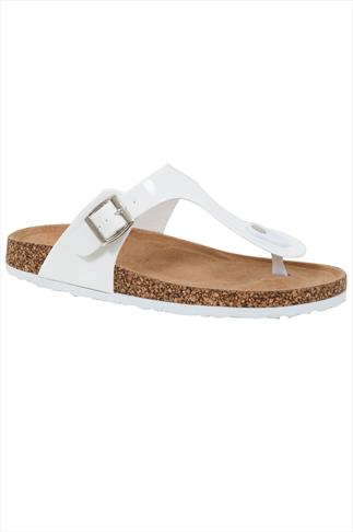 White Toe Post Cork Effect Sandals In EEE Fit