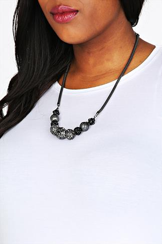 Gunmetal Bead & Gem Necklace