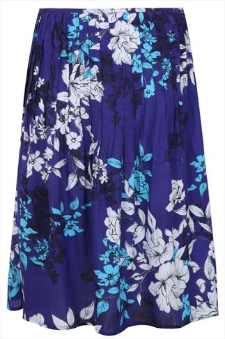 Blue Multi Floral Print Pleated Midi Skirt With Sequin Detail