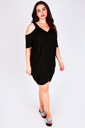 Black Drape-Side Cold Shoulder Dress