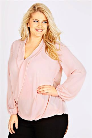 Pink Chiffon Wrap Blouse With Long Sleeves