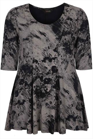 Black And Taupe Smudge Print  Panelled Peplum Longline Top